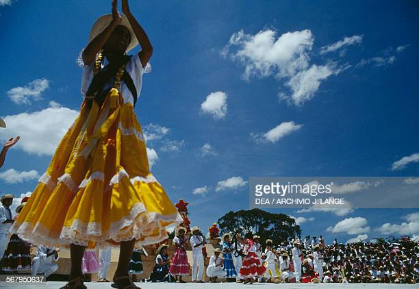 Dances during the celebrations at the Guelaguetza festival Oaxaca Mexico