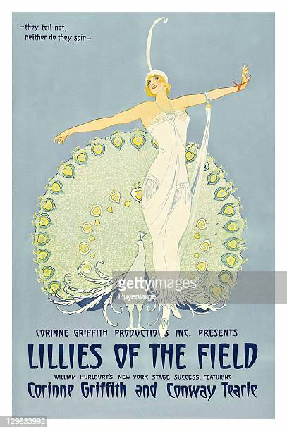 Dancing beauty in font of peacock reminisces of ER design on a poster that advertises the movie 'Lilies of the Field' 1924