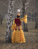 dancing girl in Kazakh costume