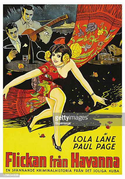 Dancing Girl with Flamenco guitar players on a poster that advertises the movie 'Girl from Havana' 1929