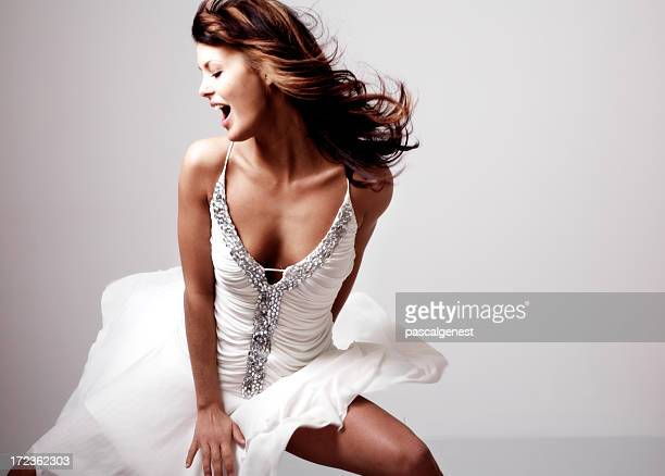 Dancing girl with white robe