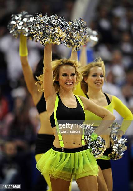 Dancing girls perform during the Beko BBLTop Four final game between Ratiopharm Ulm and Alba Berlin at O2 World on March 24 2013 in Berlin Germany