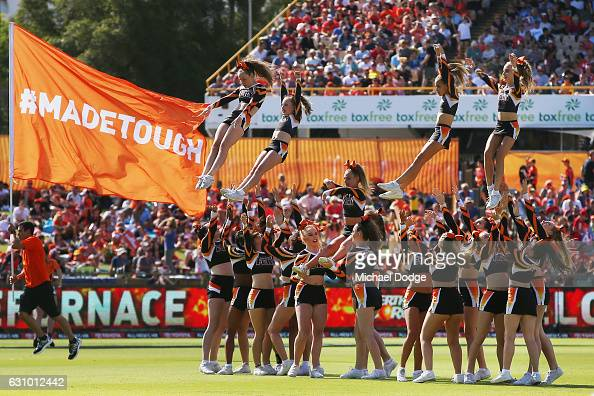 Dancing girls take centre stage during the Big Bash League match between the Perth Scorchers and the Brisbane Heat at WACA on January 5 2017 in Perth...