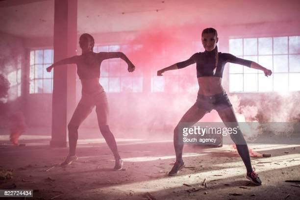 Dancing in red smoke