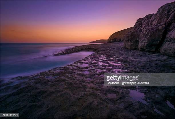 Dancing Ledge sunset afterglow