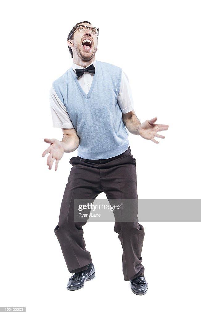Dancing Nerd Guy Isolated on White