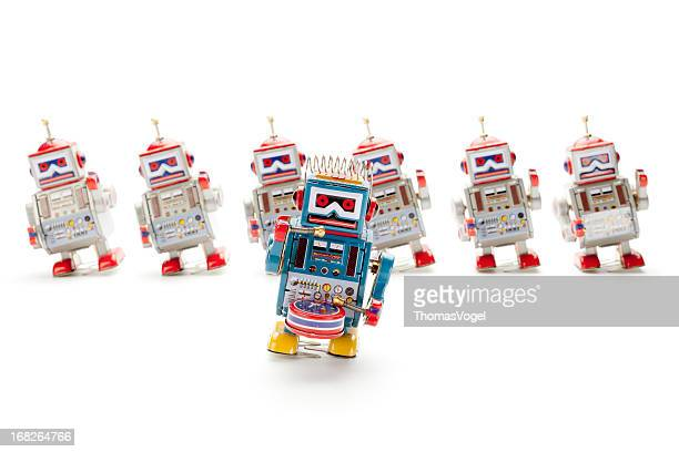 Dancing retro tin toy robots