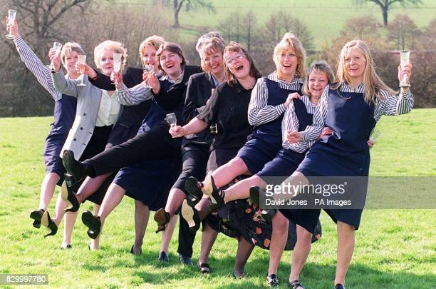 'Dancing with joy' Nine of the fourteen members of the Lottery winning syndicate from a Woolworth's store in Leek Staffordshire celebrate after...