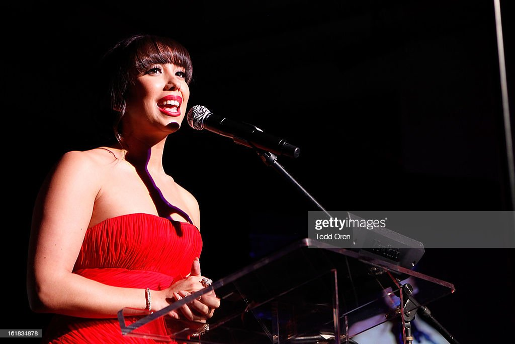 Dancing With the Stars Dancer <a gi-track='captionPersonalityLinkClicked' href=/galleries/search?phrase=Cheryl+Burke&family=editorial&specificpeople=540289 ng-click='$event.stopPropagation()'>Cheryl Burke</a> speaks at the Date for the Cure To Benefit Susan G. Komen For The Cure on February 16, 2013 in Universal City, California.