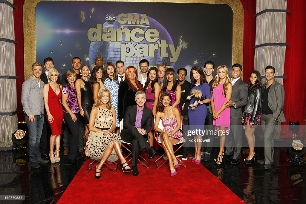 AMERICA - 'Dancing with the Stars' hosts Tom Bergeron and Brooke Burke-Charvet announced this season's celebrity and professional pairings live on 'Good Morning America' on ABC. This season's dynamic lineup of stars will perform for the first time on live national television with their professional partners during the two-hour season premiere of 'Dancing with the Stars,' MONDAY, MARCH 18 (8:00-10:01 p.m., ET) on the ABC Television Network. (Photo by Rick Rowell/ABC via Getty Images)(STANDING) DEREK HOUGH, TRISTAN MACMANUS, KELLIE PICKLER, DOROTHY HAMILL, INGO RADEMACHER, KYM JOHNSON, KARINA SMIRNOFF, JACOBY JONES, ZENDAYA COLEMAN, VAL CHMERKOVSKIY, WYNONNA JUDD, TONY DOVOLANI, SHARNA BURGESS, ANDY DICK, CHERYL BURKE, D.L. HUGHLEY, LISA VANDERPUMP, GLEB SAVCHENKO, LINDSAY ARNOLD, VICTOR ORTIZ, ALEXANDRA RAISMAN, MARK BALLAS - (SITTING) LARA