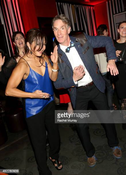 Dancing With The Stars Judge Carrie Ann Inaba and Television personality Bill Nye attend Dancing With The Stars Season 17 wrap party at Sofitel Los...