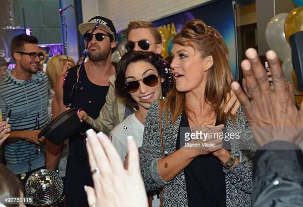 'Dancing With The Stars' Season 18 participants James Maslow Maksim Chmerkovskiy Derek Hough Meryl Davis and Amy Purdy arrive at ABC's 'Good Morning...