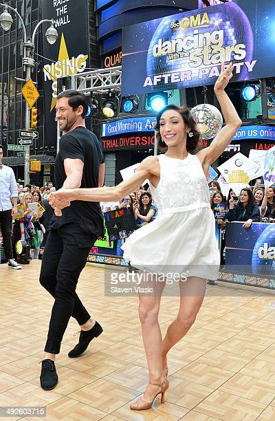 'Dancing With The Stars' Season 18 winners Meryl Davis and Maksim Chmerkovskiy perform at ABC's 'Good Morning America' at Times Square on May 21 2014...