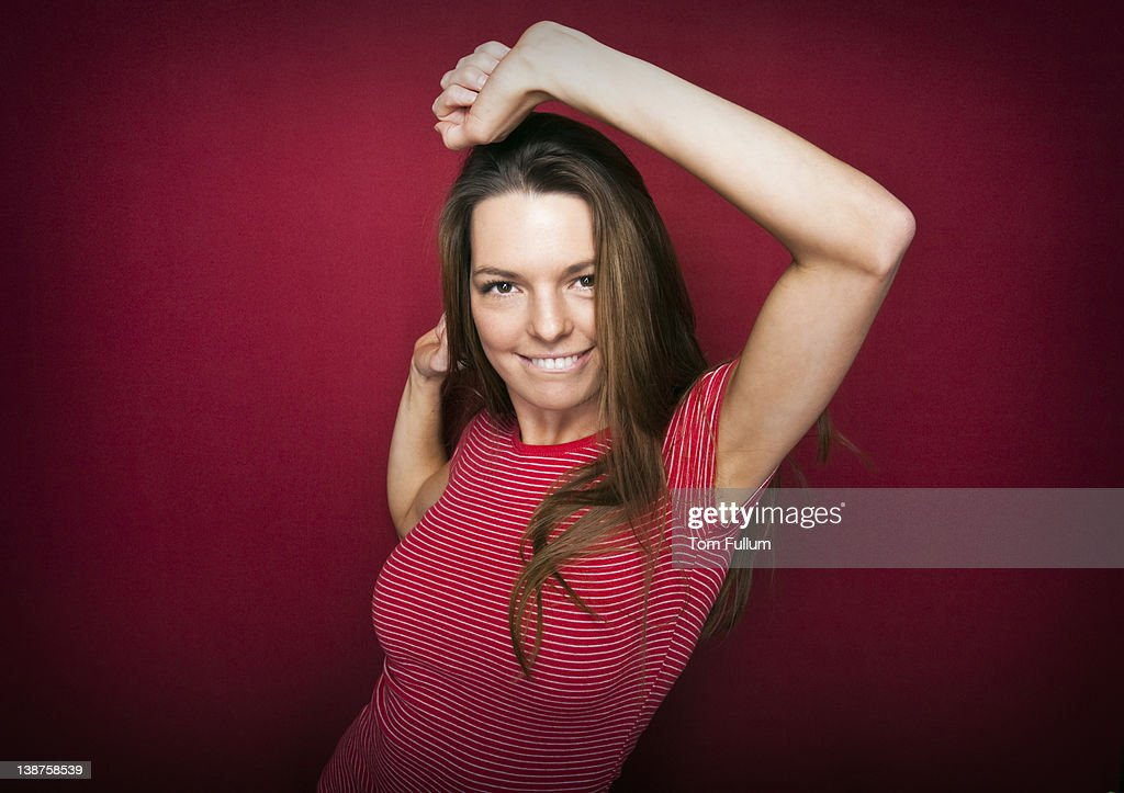 Dancing Woman in Red : Stock Photo