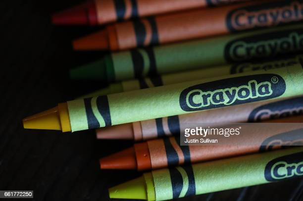 A dandelion yellow Crayola crayon is displayed on March 31 2017 in San Anselmo California Crayola announced that they will be eliminating the...