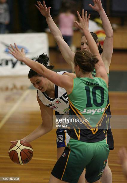 WNBL Dandenong Rangers V Bulleen Boomers Bulleen's Hollie Grima blocked by Dandenong's Jenna O Hea 15th December 2006Fairfax THE AGE SPORT Picture by...