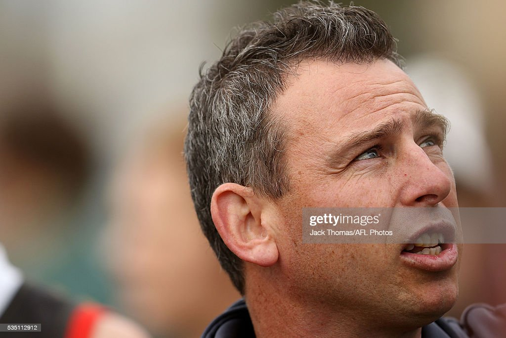 Dandenong Stingrays Coach Craig Black talks to his players during the round eight TAC Cup match between Dandenong Stingrays and Geelong Falcons at Shepley Oval on May 29, 2016 in Melbourne, Australia.