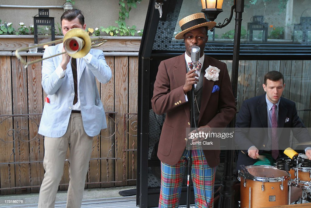Dandy Wellington (C) and his band perform at Sophia Bush's Birthday Party at Hotel Chantelle on July 8, 2013 in New York City.
