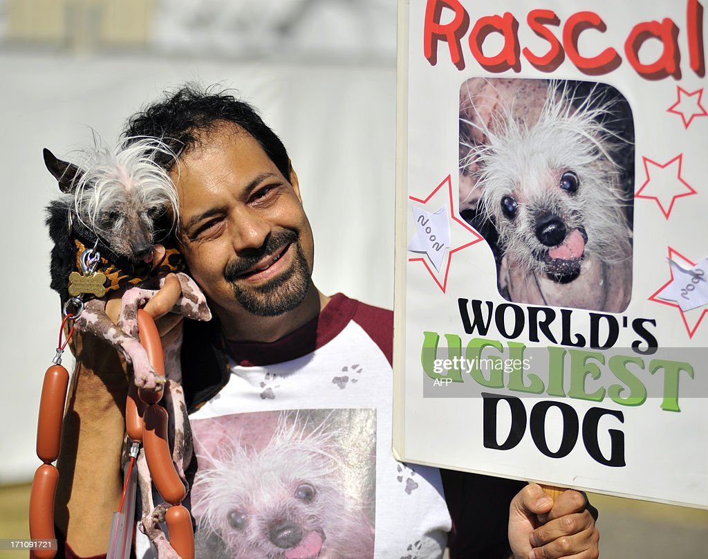 Dane Andrew shows his dog Rascal, a Chinese Crested, before the World's Ugliest Dog competition in Petaluma, California, on Friday, June 21, 2013. AFP Photo / Josh Edelson