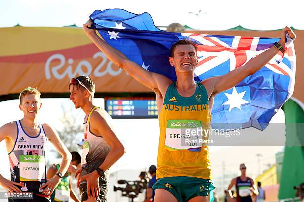 Dane BirdSmith of Australia celebrates winning bronze in the Men's 20km Race Walk on Day 7 of the Rio 2016 Olympic Games at Pontal on August 12 2016...