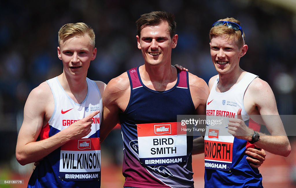 Dane Bird-Smith of Australia (C) celebrates with Callum Wilkinson (L) and <a gi-track='captionPersonalityLinkClicked' href=/galleries/search?phrase=Tom+Bosworth&family=editorial&specificpeople=8008329 ng-click='$event.stopPropagation()'>Tom Bosworth</a> of Great Britain during Day Three of the British Championships at Birmingham Alexander Stadium on June 26, 2016 in Birmingham, England.