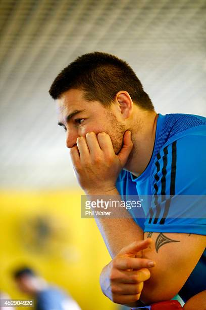 Dane Coles of the All Blacks looks on during a gym session at Les Mills Takapuna on July 30 2014 in Auckland New Zealand