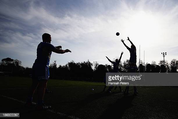 Dane Coles of the All Blacks practices lineout throws during a training session at the Unione Rugby Capitolina ground on November 13 2012 in Rome...