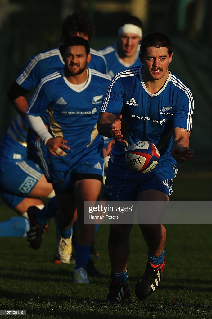 <a gi-track='captionPersonalityLinkClicked' href=/galleries/search?phrase=Dane+Coles&family=editorial&specificpeople=677007 ng-click='$event.stopPropagation()'>Dane Coles</a> of the All Blacks runs through drills during a training session at Latymers Upper School on November 29, 2012 in London, England.