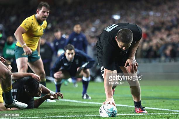 Dane Coles of the All Blacks scores a try during the Bledisloe Cup Rugby Championship match between the New Zealand All Blacks and the Australia...