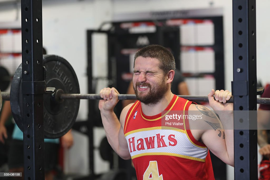 Dane Coles of the All Blacks squats during a gym session at Les Mills on May 30, 2016 in Auckland, New Zealand.