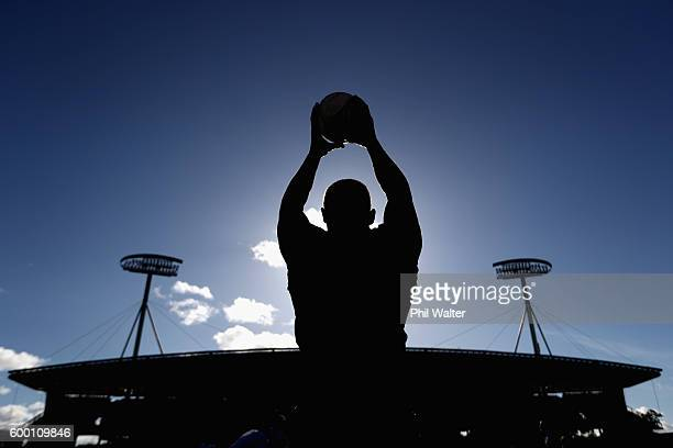Dane Coles of the All Blacks throws the ball into the lineout during the New Zealand All Blacks training session at Waikato Stadium on September 8...