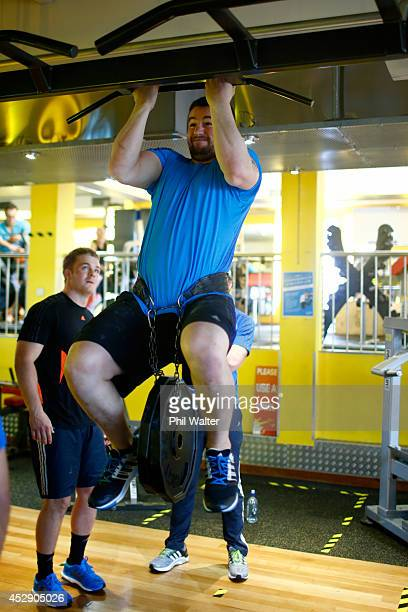 Dane Coles of the All Blacks trains on during a gym session at Les Mills Takapuna on July 30 2014 in Auckland New Zealand