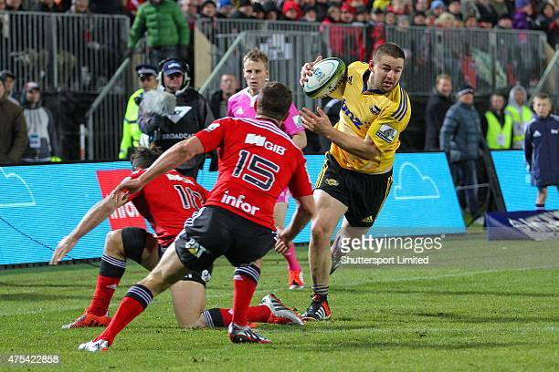 Dane Coles of the Hurricane steps of his right on his way to score during the Round 16 Super Rugby match between the Crusaders and the Hurricanes at...