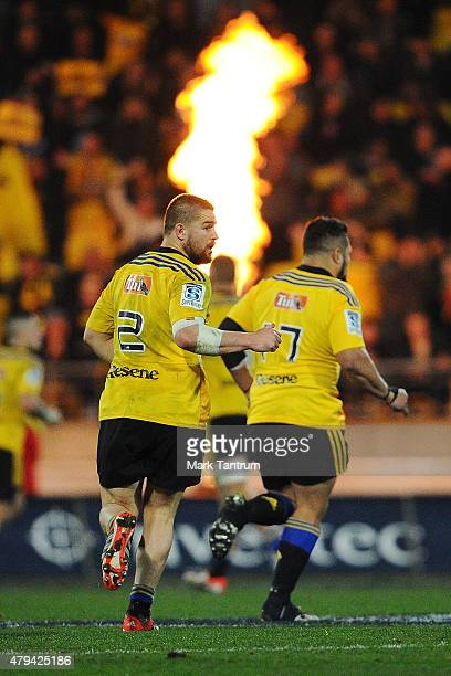 Dane Coles of the Hurricanes and Callum Gibbins of the Hurricanes retreat during the Super Rugby Final match between the Hurricanes and the...