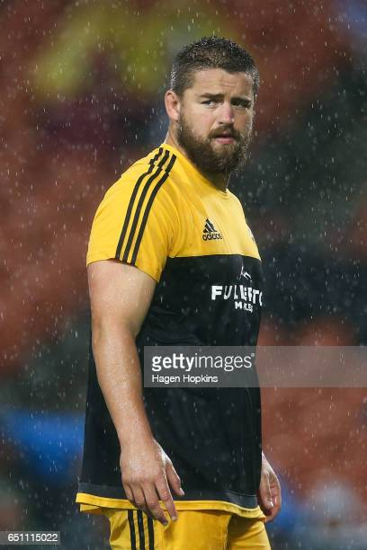 Dane Coles of the Hurricanes looks on during the round three Super Rugby match between the Chiefs and the Hurricanes at FMG Stadium Waikato on March...