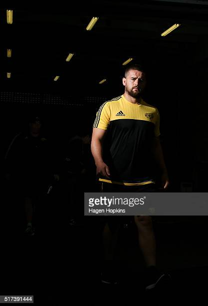 Dane Coles of the Hurricanes takes the field to warm up during the round five Super Rugby match between the Hurricanes and the Kings at Westpac...