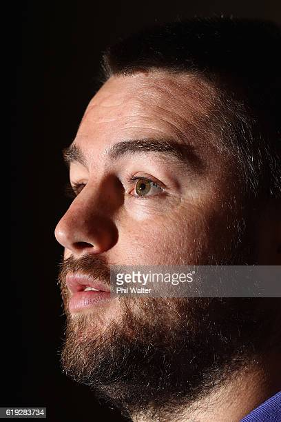 Dane Coles of the New Zealand All Blacks speaks during a press conference at the Hyatt Regency Hotel on October 30 2016 in Chicago Illinois
