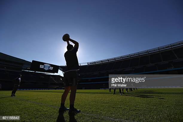 Dane Coles of the New Zealand All Blacks throws the ball into the lineout during the All Blacks captains run at Soldier Field on November 3 2016 in...