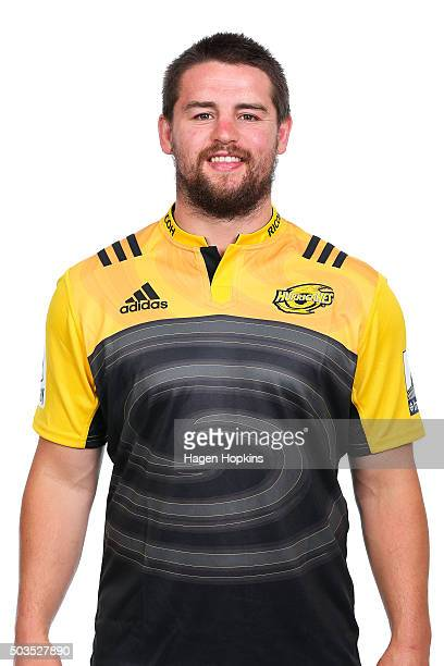 Dane Coles poses during the Wellington Hurricanes 2016 Super Rugby headshots session on January 6 2016 in Wellington New Zealand