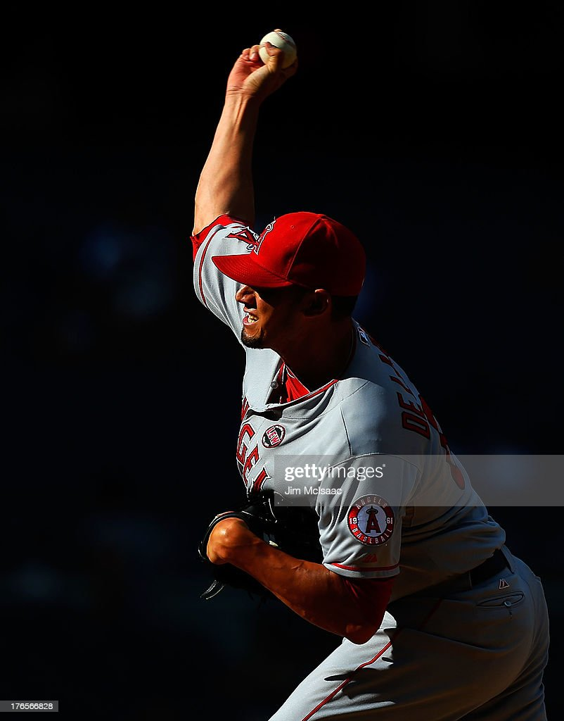 Dane De La Rosa #65 of the Los Angeles Angels of Anaheim pitches in the ninth inning against the New York Yankees at Yankee Stadium on August 15, 2013 in the Bronx borough of New York City.