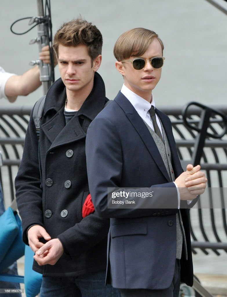 <a gi-track='captionPersonalityLinkClicked' href=/galleries/search?phrase=Dane+DeHaan&family=editorial&specificpeople=6890481 ng-click='$event.stopPropagation()'>Dane DeHaan</a> and <a gi-track='captionPersonalityLinkClicked' href=/galleries/search?phrase=Andrew+Garfield&family=editorial&specificpeople=4047840 ng-click='$event.stopPropagation()'>Andrew Garfield</a> filming on location for 'The Amazing Spider-Man 2' on May 6, 2013 in New York City.