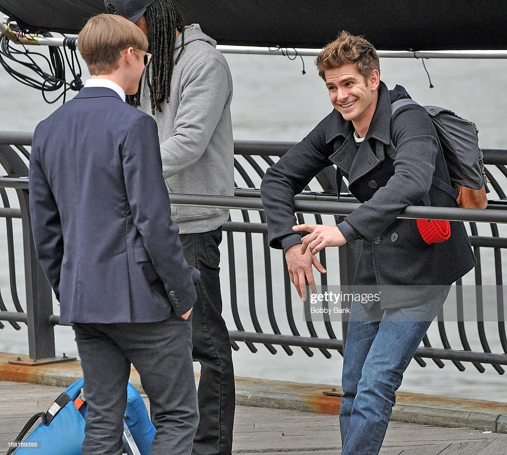 dane dehaan and andrew garfield filming on location for