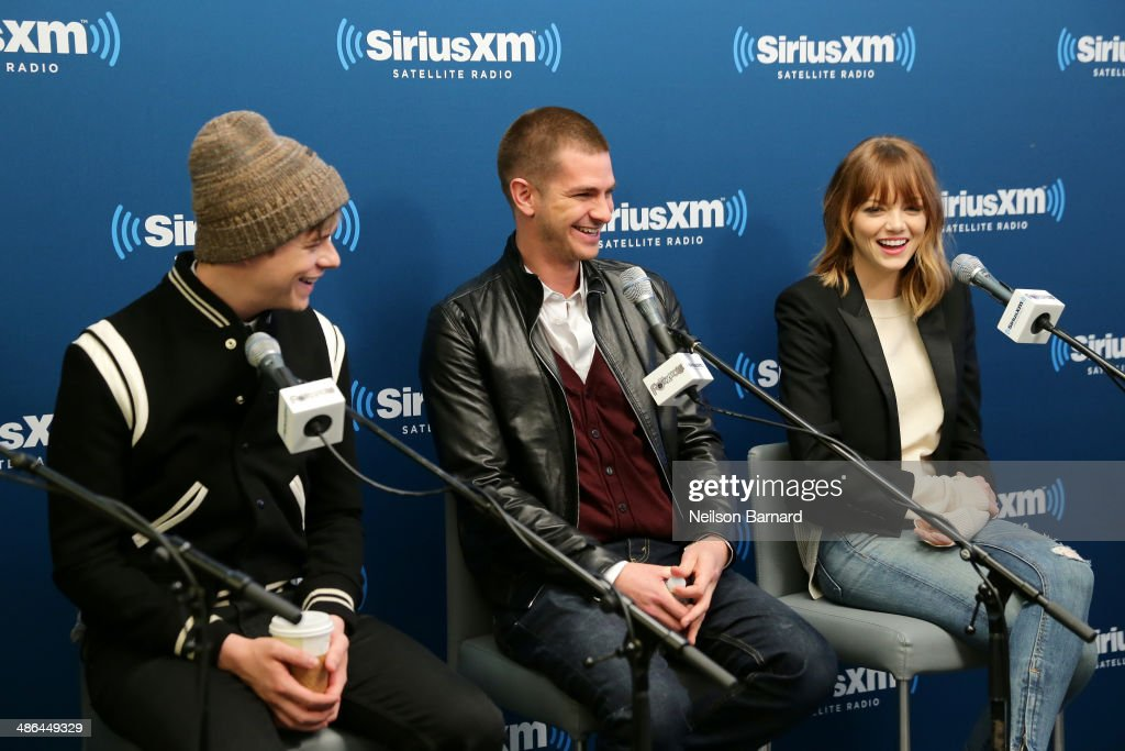 Dane DeHaan Andrew Garfield and Emma Stone of the cast of 'The Amazing SpiderMan 2' answer questions from fans during a SiriusXM 'Town Hall' special...