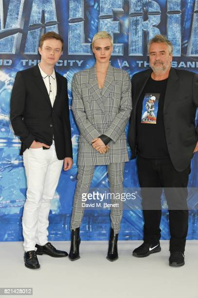 Dane DeHaan Cara Delevingne and director Luc Besson attend a photocall for 'Valerian And The City Of A Thousand Planets' at The Langham Hotel on July...