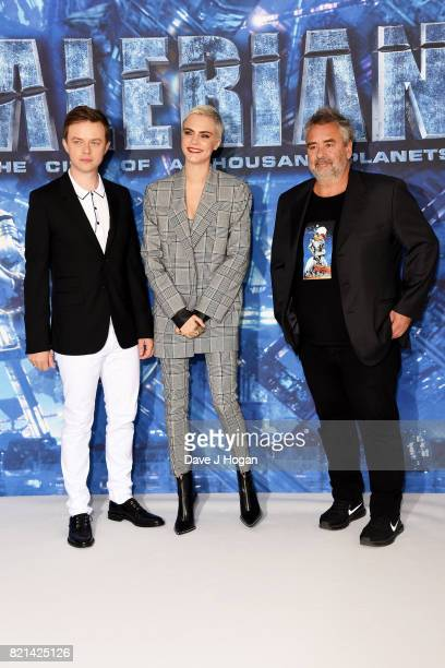 Dane DeHaan Cara Delevingne and director Luc Besson attend the photocall of 'Valerian and The City of a Thousand Planets' at The Langham Hotel on...