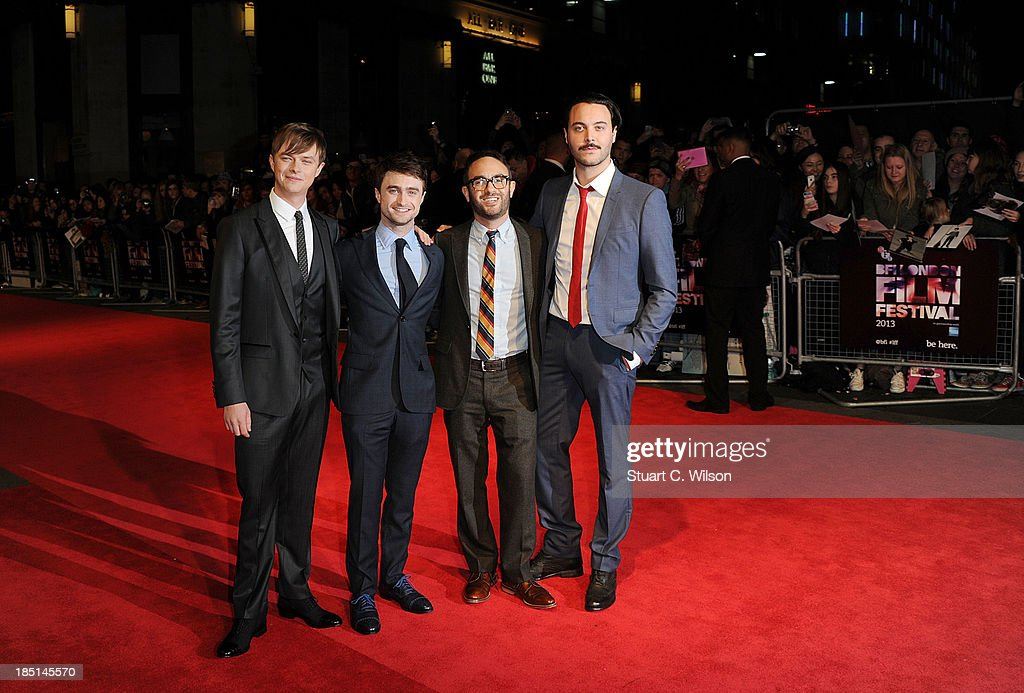<a gi-track='captionPersonalityLinkClicked' href=/galleries/search?phrase=Dane+DeHaan&family=editorial&specificpeople=6890481 ng-click='$event.stopPropagation()'>Dane DeHaan</a>, <a gi-track='captionPersonalityLinkClicked' href=/galleries/search?phrase=Daniel+Radcliffe&family=editorial&specificpeople=204144 ng-click='$event.stopPropagation()'>Daniel Radcliffe</a>, John Korkidas and <a gi-track='captionPersonalityLinkClicked' href=/galleries/search?phrase=Jack+Huston&family=editorial&specificpeople=839493 ng-click='$event.stopPropagation()'>Jack Huston</a> attend a screening of 'Kill Your Darlings' during the 57th BFI London Film Festival at Odeon West End on October 17, 2013 in London, England.