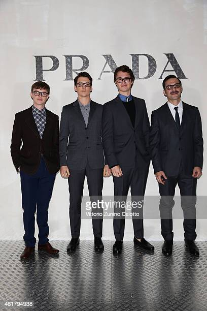 Dane Dehaan Miles Teller Ansel Elgort and Filippo Timi attend the Prada Journal Event during the Milan Menswear Fashion Week Fall Winter 2015/2016 on...