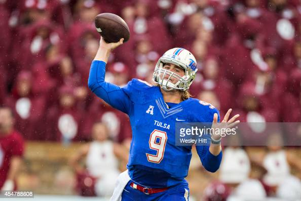 Dane Evans of the Tulsa Golden Hurricanes throws a pass against the Oklahoma Sooners at HA Chapman Stadium on September 6 2014 in Tulsa Oklahoma