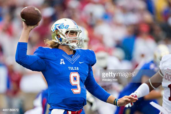 Dane Evans of the Tulsa Golden Hurricanes throws a pass against the Oklahoma Sooners at HA Chapman Stadium on September 6 2014 in Tulsa Oklahoma The...