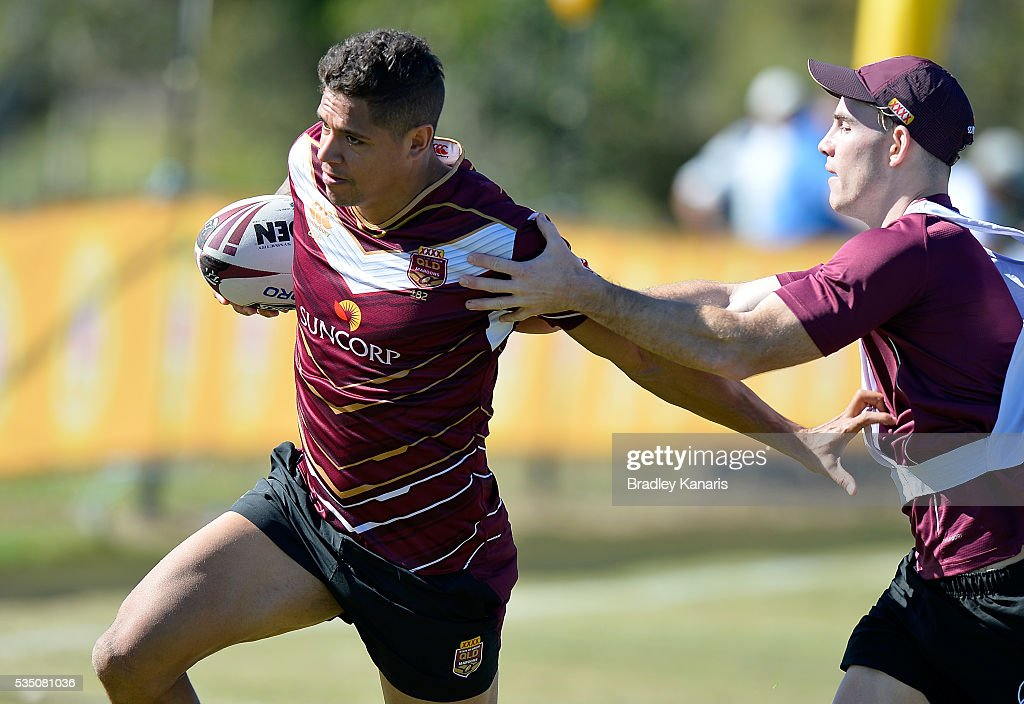 Dane Gagai attempts to break away from the defence during a Queensland Maroons State of Origin training session on May 29, 2016 in Gold Coast, Australia.